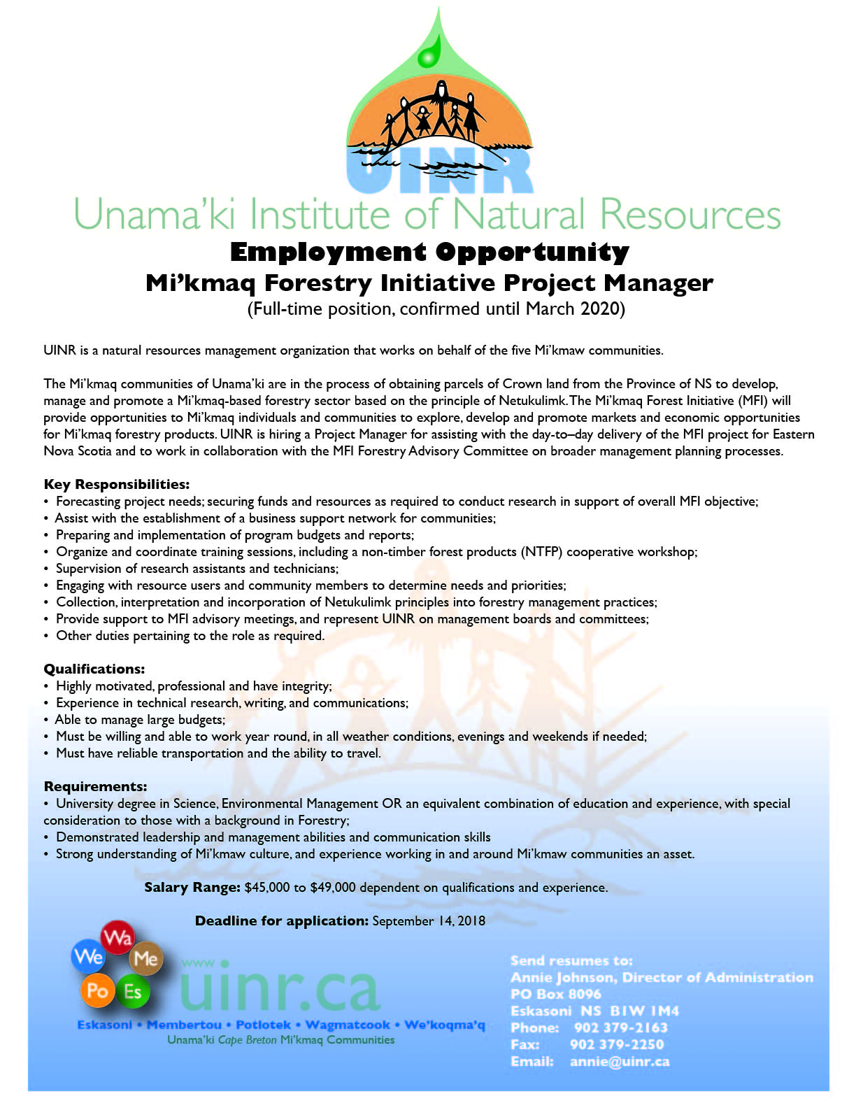 Employment Opportunity – Mi'kmaq Forestry Initiative Project Manager
