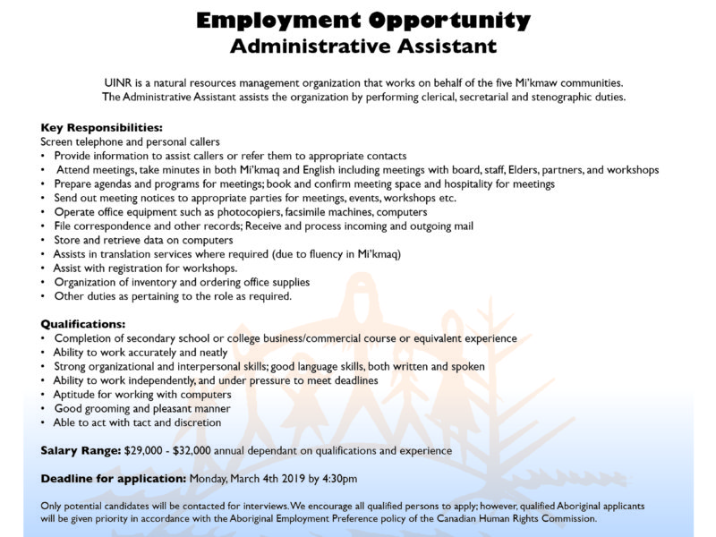 Employment Opportunity: Administrative Assistant