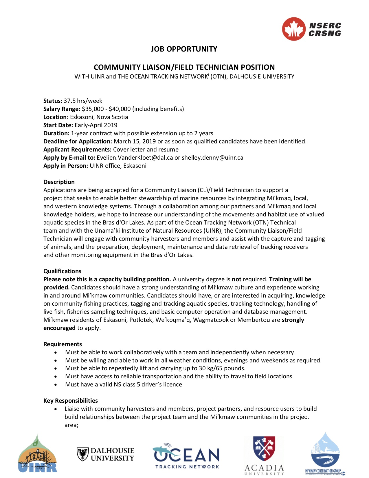 Job Opportunity: Community Liaison / Field Technician